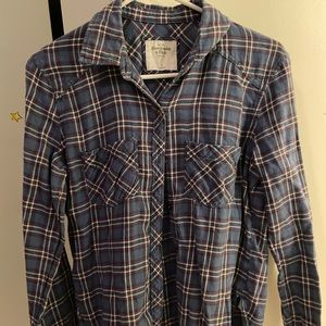 Blue and white long flannel